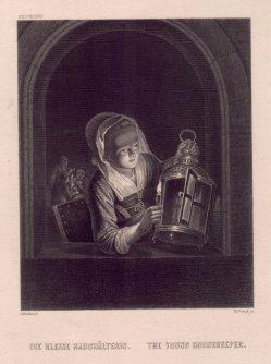 William French (1815-1898), Die kleine Haushälterin, Stahlstich nach G. Schalken, D2390-2