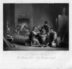 William French (1815-1898), Die Rauchgesellschaft, Stahlstich nach D. Teniers II, D2390-10