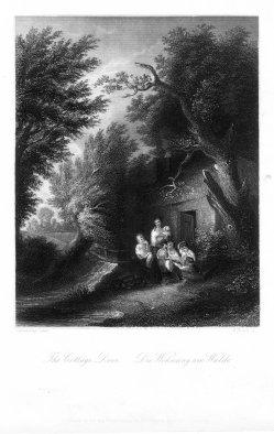 William French (1815-1898), Die Wohnung am Walde, Stahlstich nach T.Gainsborought, D2393-6