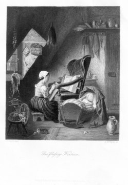 Albert Henry Payne (1812-1902), Die fleißige Wärterin, Stahlstich nach A. Siegert, D2413-3