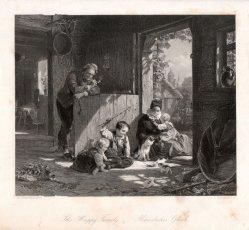 Albert Henry Payne (1812-1902), Häusliches Glück, Stahlstich nach C.G.Naumann, D2422-2