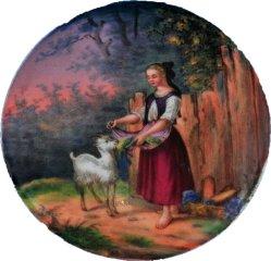 Hermann Werner (1816-1905), Komm Hans!, Porzellanmalerei, Medaillon, A0250