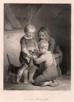 William French (1815-1898), Die neuen Hausgenossen, Stahlstich nach de Bruycker, D2422-6