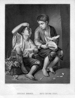 William French (1815-1898), Essende Knaben, Stahlstich nach Murillo, D2401-3