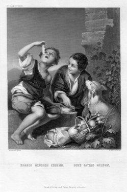 William French (1815-1898), Knaben Melonen Essend, Stahlstich nach Murillo, D2401-2