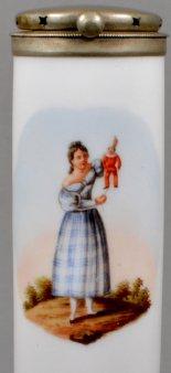 Du machst dich zum Hampelmann!, Porzellanmalerei, Pfeifenkopf, D1136