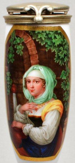 Johann Nepomuk Ender (1793 – 1854), Griechisches Mädchen, Porzellanmalerei, Pfeifenkopf, D1244