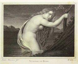 Friedrich John (1769-1843), Kupferstich 1821, Nymphe im Bade, nach Carraci, D1601