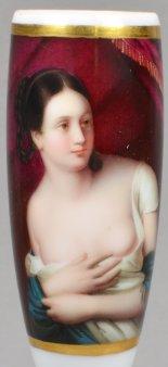 Édouard-Louis Dubufe (1819-1883), The Surprise, Porzellanmalerei, Pfeifenkopf, D1733