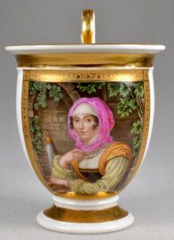 Johann Nepomuk Ender  (1793-1854), Griechisches Mädchen, Porzellanmalerei, Blüchertasse, D1751