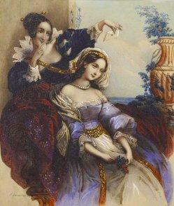 Emile Desmaisons (1812 – 1880) Farblithographie, Der Liebesbrief