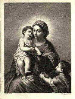Carl August Schwerdgeburth (1785-1878), Kupferstich, Madonna mit dem Christuskind und Johannesknabe, nach Tizian, A0083