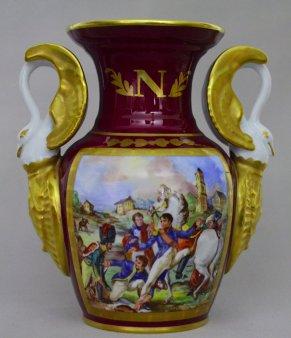 Napoleonische Soldaten, Porzellanmalerei, Vase, D1871