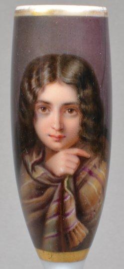 Charles Francois Jalabert (1819 – 1901), Die Armuth, Porzellanmalerei, Pfeifenkopf, D1559
