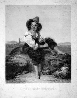 Eduard Mandel (1810-1882), Der Italienische Hirtenknabe, nach Pollack, Kupferstich 1840, D1615