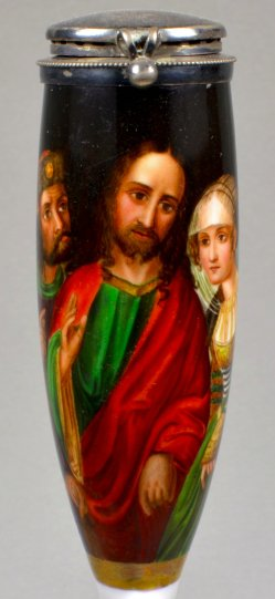 Lucas Cranach (1472-1553), Christus und die Ehebrecherin, Porzellanmalerei, Pfeifenkopf, D1818