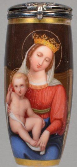 Maria mit dem Jesuskind, Porzellanmalerei, Pfeifenkopf, D1883