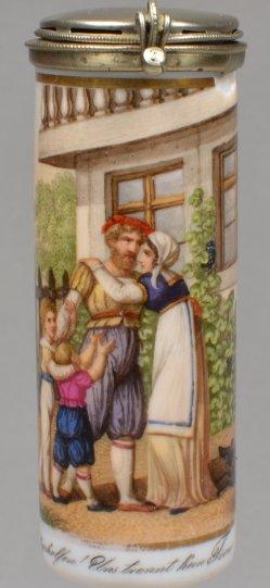 Wilhelm Tells Heimkehr, Porzellanmalerei, Pfeifenkopf, D1885