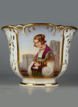 Louis Ammy Blanc (1810-1885), Die Kirchgängerin, Porzellanmalerei, Tasse, A0028