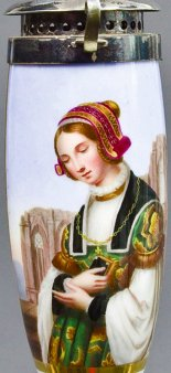 Louis Blanc (1810-1885), Die Kirchgängerin, Porzellanmalerei, Pfeifenkopf, B0116