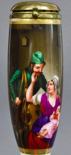 Carl Friedrich Schulz (1796-1866), Die Heimkehr des Jägers, Porzellanmalerei, Pfeifenkopf, B0186
