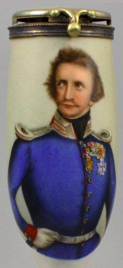 Carl Wollenweber (geb. 1793) Ludwig I von Bayern, Porzellanmalerei, Pfeifenkopf, D1068