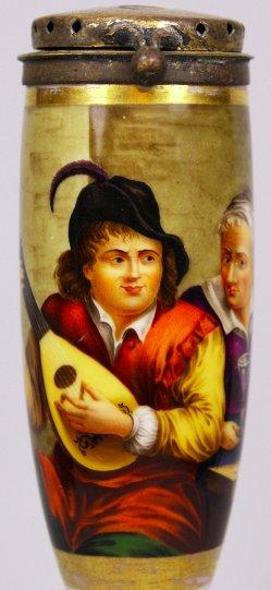 David Teniers (1610-1690), Der flämische Musiker, Porzellanmalerei, Pfeifenkopf, D1123