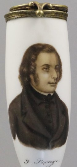 Johannes Ronge (1813-1887), Porzellanmalerei, Pfeifenkopf, D1160