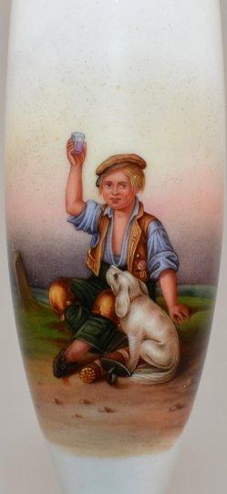 Joseph Hornung (1792–1870), Glücklicher als ein König, Porzellanmalerei, Pfeifenkopf, D1666