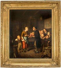 Isidor Poppe (1816-1884), Gemälde, In der Dorfschule,D1912