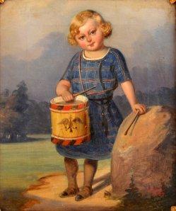 "Hermann Werner (1816-1905), Gemälde 1849 ""Kind mit Trommel"", D0002"