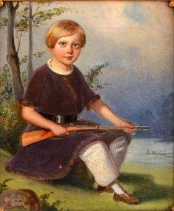 """Hermann Werner (1816-1905), Gemälde 1849 """"Kind mit Gewehr"""", D0003"""
