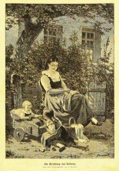 """H. Kriegsmann, Holzstich, """"Im Frühling des Lebens"""" nach H. Werner 1881, D1388"""