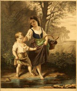 """Georg Ludwig Wilhelm Arnould (1843-1913), Lithographie, """"Geh Hänschen"""" nach H. Werner um 1847, D1210"""