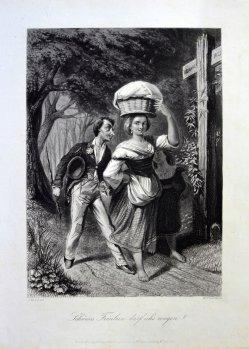"""William French (1815-1898), Stahlstich, """"Schönes Fräulein darf ich´s wagen?"""" nach J.Wild, D1591 1591 Liebes Fräulein darf ichs wagen"""