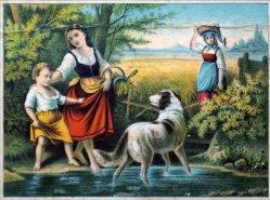 """Farblithographie, """"Geh Hänschen"""" nach H. Werner um 1847, D1631"""