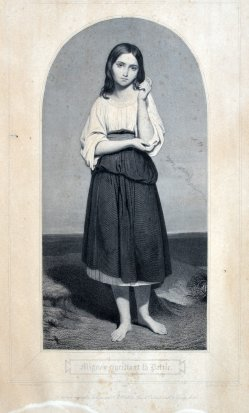 """Louis, Aristide (1815-1852), Kupferstich, """"Mignon regrettant la Patrie"""" nach Ary Scheffer"""
