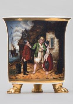 Rudolf Jordan (1810-1887), Heiratsantrag auf Helgoland, Porzellanmalerei, Tatzenfußtasse, D1778