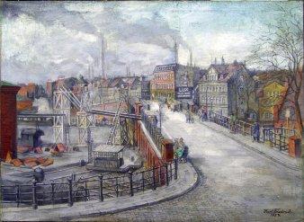 "Karl Friedrich (1898-1989), Magdeburg ""Brücke am Bahnhof Buckau"", Gemälde 1957, D0349"
