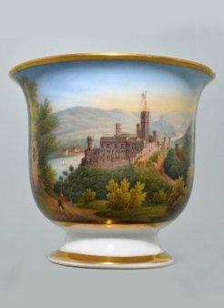 """Burg Stolzenfels"", Porzellanmalerei, Tasse, D1093"