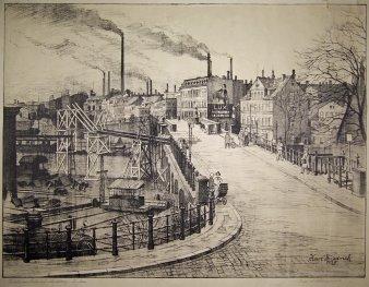"""Karl Friedrich (1898-1989), Magdeburg """"Brücke am Bahnhof Buckau"""", Lithographie 1928, D1104"""