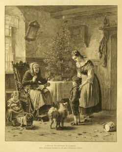 """Holzstich, """"Am Weihnachtsmorgen"""" nach H. Werner 1866, D12041204 Neuer Anzug bearb"""