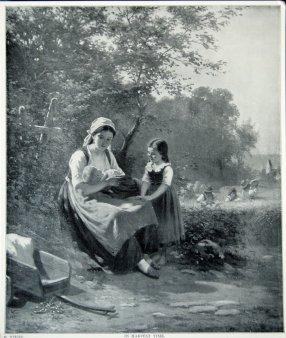 """Fotogravüre, """"In der Erntezeit"""" nach H. Werner 1881, D1205"""
