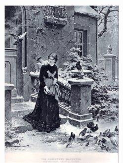 """Fotogravüre, """"Die Försterstochter"""" nach H. Werner 1883, D1216"""