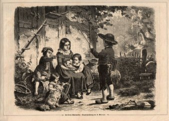 Holzstich, Der kleine Schulmeister, nach H. Werner 1864, D1696