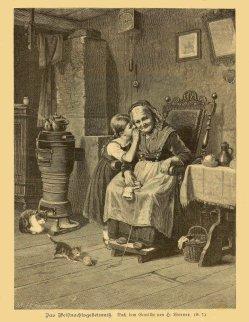 """Holzstich, """"Das Weihnachtsgeheimnis"""" nach H. Werner 1879, D1882"""