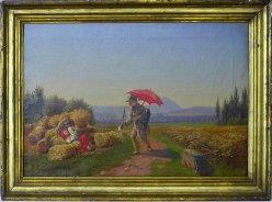 Alter Pfeifenraucher und Ährenbinderinnen, Gemälde, D1949