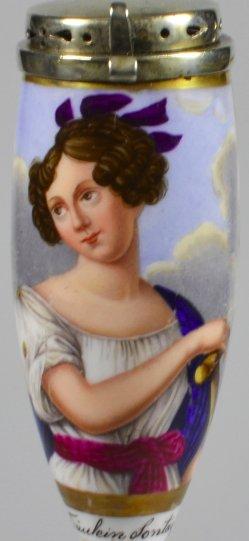 Rudolf Julius Benno Hübner (1806-1882), Portrait Henriette Sontag, Porzellanmalerei, Pfeifenkopf, D1962
