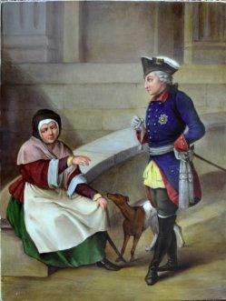 """Adolph von Menzel (1815-1905)""""Friedrich der Große und die Höckerin"""", Porzellanmalerei, Bildplatte, D1965"""