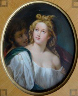 "Tizian (um 1477-1576) ""Lukretia und Tarquinius"" nach Tizian, Porzellanmalerei, Bildplatte, D1980"